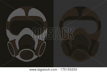 Solid Color Simplified Biohazard Gas Mask Icons