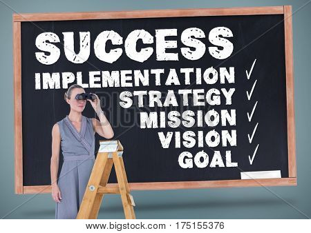 Woman on ladder looking through binoculars against business terms on blackboard