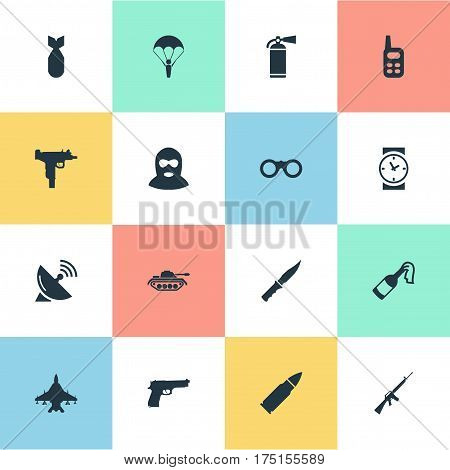 Vector Illustration Set Of Simple Military Icons. Elements Extinguisher, Pistol, Firearm And Other Synonyms Machine, Extinguisher And Knife.