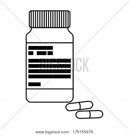 Bottle with pills of insulin.Pills for diabetes.Medications diabetic.Diabetes single icon in outline style vector symbol stock web illustration.