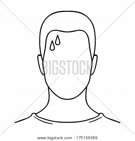 A sweaty man.The man is sweating from diabetes.Diabetes single icon in outline style vector symbol stock web illustration.