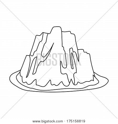 High steep mountain with grass the dark colors with sharp spikes.Different mountains single icon in outline style vector symbol stock web illustration.