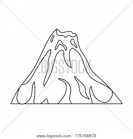 A fiery volcano.A mountain in which there is a volcanic eruption.Different mountains single icon in outline style vector symbol stock web illustration.