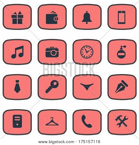 Vector Illustration Set Of Simple Accessories Icons. Elements Repair, Cravat, Ink Pencil And Other Synonyms Underwear, Repair And Present.