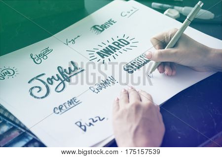 Typography word style collection design writing down the paper