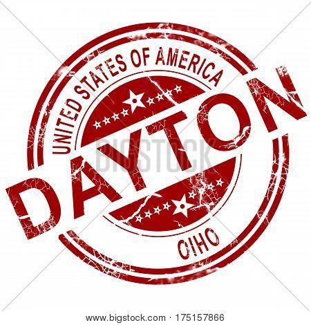 Dayton Ohio Stamp With White Background