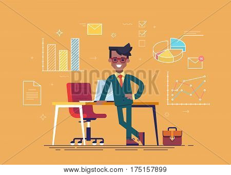 Confident businessman standing cross-legged leaning on a table with business process icons and infographics on background.Vector illustration.