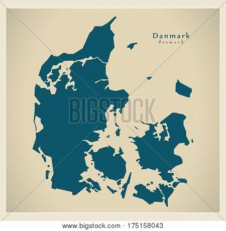 Modern Map - Denmark Dk Mainland Illustration Silhouette