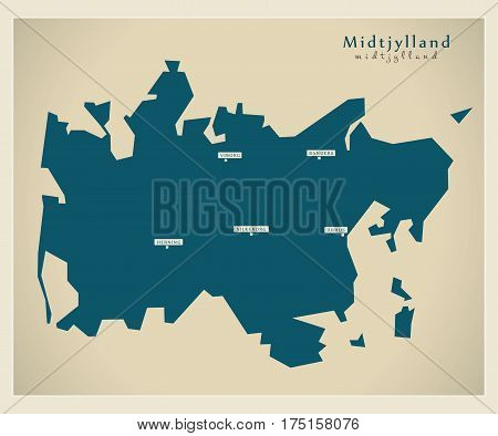 Modern Map - Midtjylland Dk Illustration Silhouette