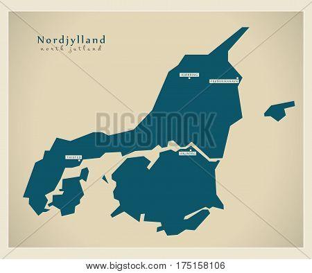 Modern Map - Nordjylland Dk Illustration Silhouette