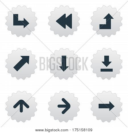 Vector Illustration Set Of Simple Arrows Icons. Elements Let Down, Right Direction, Increasing And Other Synonyms Right, Pointing And Down.
