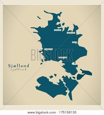 Modern Map - Sjaelland Dk Illustration Silhouette