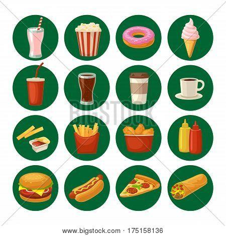 Set fast food icon. Cup cola coffee donut ice cream milkshake hamburger burrito chicken legs hotdog fry potato popcorn ketchup. Isolated on white background. Vector flat color illustration