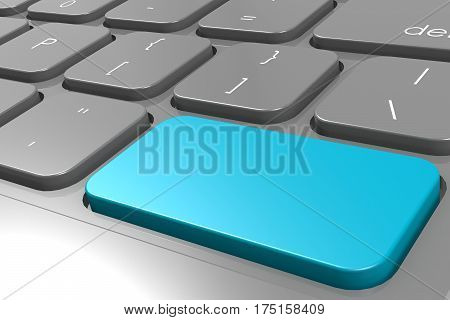Blue Enter Button On Black Computer Keyboard