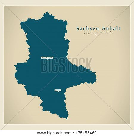 Modern Map - Sachsen-anhalt De New Design Refreshed Illustration