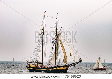 Rostock, Germany - August 2016: Sailing ship Zuiderzee on the sea. Hanse-Sail Warnemuende at port Rostock, Mecklenburg-Vorpommern, Germany. Tall Ship.Yachting and Sailing travel. Cruises and holidays