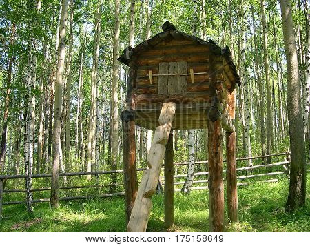 Labaz - a shed without a ceiling with a roof for salting fish. The Evenk settlement in the pine forest. Lake Baikal, Russia