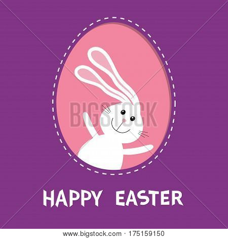 Happy Easter. Bunny rabbit hare with big ears inside painted egg frame window. Dash line contour. Cute cartoon character. Baby greeting card. Violet background. Flat design. Vector illustration