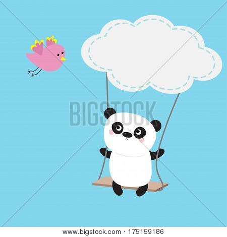 Panda ride on the swing. Cloud shape. Flying pink bird. Cute fat cartoon character. Kawaii baby collection. Love card. Flat design Funny kids style Blue sky background Isolated Vector illustration