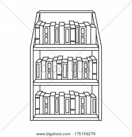 Bookcase icon in outline design isolated on white background. Library and bookstore symbol stock vector illustration.