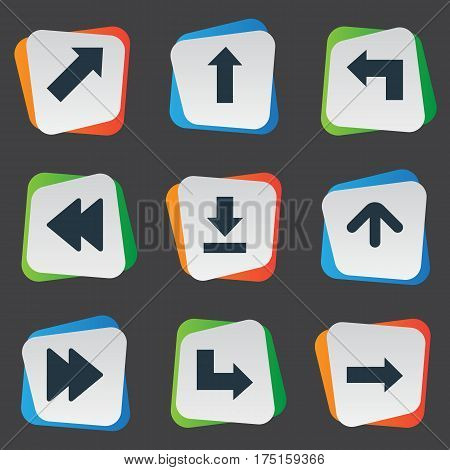 Vector Illustration Set Of Simple Pointer Icons. Elements Let Down, Rearward, Right Direction And Other Synonyms Upward, Download And Direction.