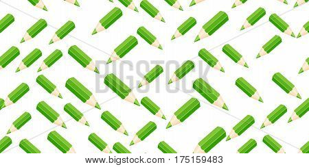 Template with row of color pencils isolated on white background. vector illustration