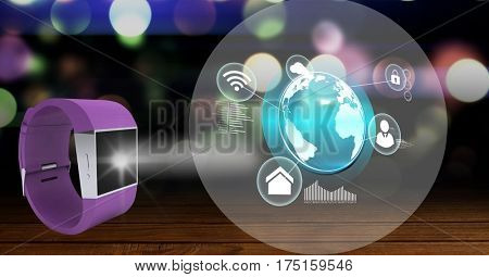 Digitally generated image of smart watch and digital interface against blur background
