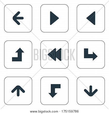 Vector Illustration Set Of Simple Indicator Icons. Elements Rearward, Upward Direction, Left Direction And Other Synonyms Pointing, Decline And Rearward.