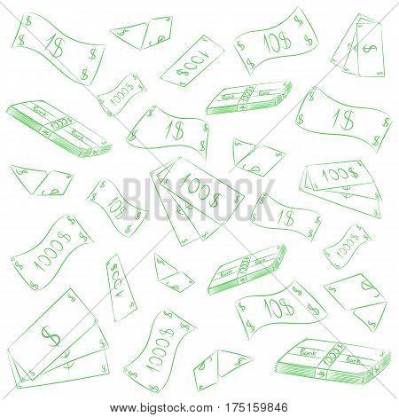 Hand Drawn Green Banknotes. Doodle Money Rain. Scribble Drawings of Cash. Vector Illustration.