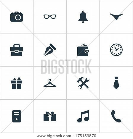 Vector Illustration Set Of Simple Accessories Icons. Elements Call Button, Billfold, Digital Camera And Other Synonyms Nib, Device And Time.