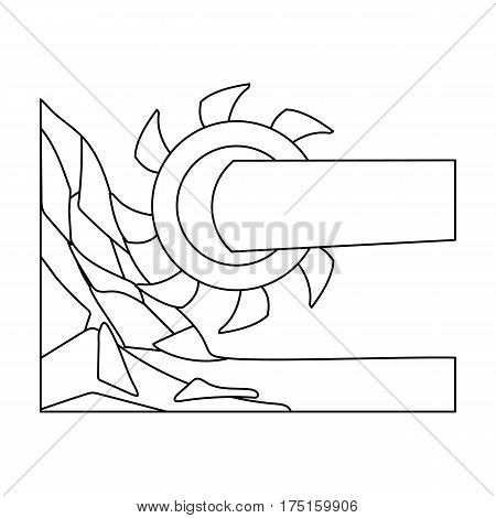 Large cutting wheel. Machine for extraction of minerals.Mine Industry single icon in outline style vector symbol stock web illustration.
