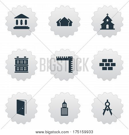 Vector Illustration Set Of Simple Architecture Icons. Elements Popish, Block, Shelter And Other Synonyms Stone, Church And Shelter.
