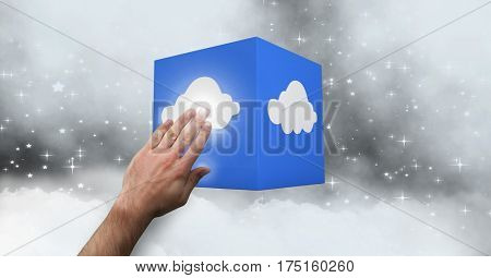 Close-up of man hand touching a cloud computing icon against digitally generated background