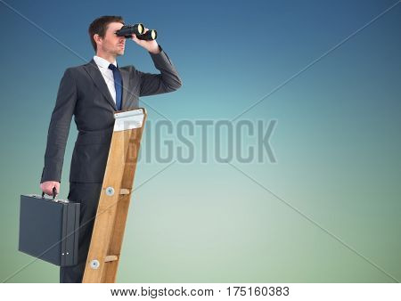 Digital composite image of businessman standing on success ladder and looking through binoculars against sky