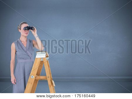 Digital composite image of female executive standing on success ladder and looking through binocular