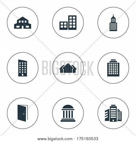 Vector Illustration Set Of Simple Construction Icons. Elements Structure, Shelter, Superstructure And Other Synonyms Rooms, Architecture And Shelter.