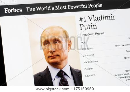 RIGA LATVIA - February 24 2017: Forbes Magazine list of The Worlds Most Powerful People.Number 1 The President of Russia Vladimir Putin.