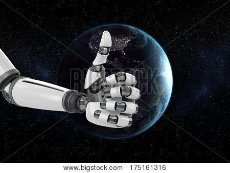 Digital composition of robot hand against globe in background