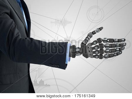 Digital composition of businessman with robotic hand against white background