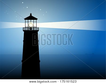 Lighthouse searchlight beam through foggy air, vector