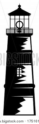 Abstract lighthouse sign or symbol on white bacground