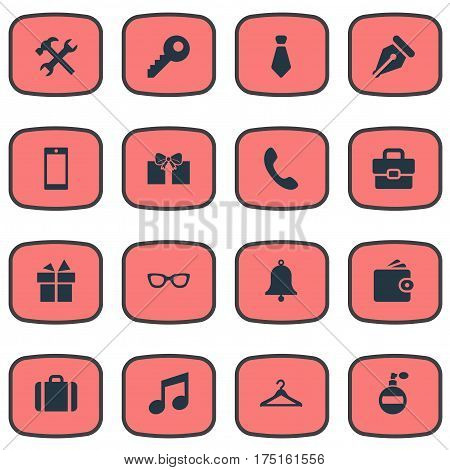 Vector Illustration Set Of Simple Instrument Icons. Elements Password, Music, Ring And Other Synonyms Hook, Give And Mobile.