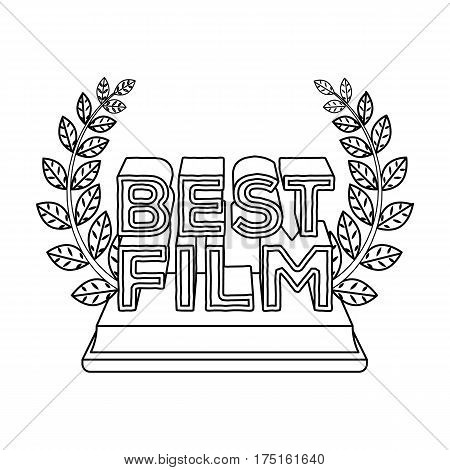 Golden statue with a wreath and inscription.The prize for best film.Movie awards single icon in outline style vector symbol stock web illustration.