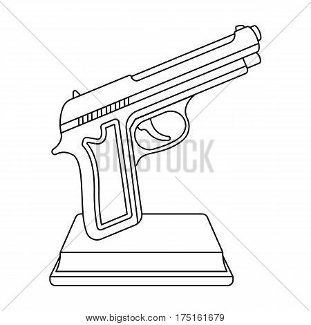 Golden gun on a stand.Award for best crime film.Movie awards single icon in outline style vector symbol stock web illustration.