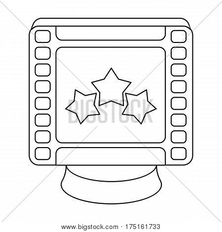 Award in the form of a video tape for best actor.Movie awards single icon in outline style vector symbol stock web illustration.