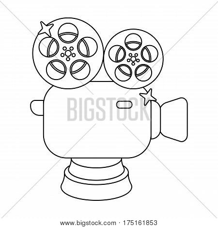 Silver camera with film.The award for the best filming of the movie.Movie awards single icon in outline style vector symbol stock web illustration.