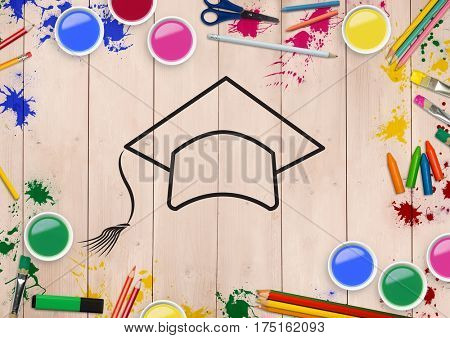 Digitally generated image of convocation hat drawn on wooden plank with coloring tools