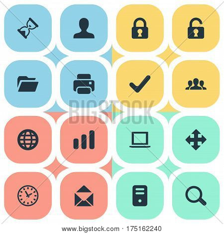 Vector Illustration Set Of Simple Practice Icons. Elements Dossier, Web, Sand Timer Synonyms Bar, Community And Hour.