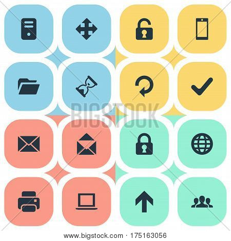 Vector Illustration Set Of Simple Application Icons. Elements Dossier, Printout, Check And Other Synonyms Community, Sandglass And Okay.