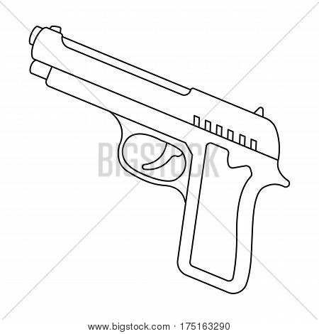 Handgun icon in outline design isolated on white background. Police symbol stock vector illustration.